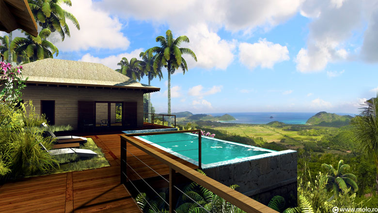 ... Selong Selo resort - architectural concept, 3D rendering and animation